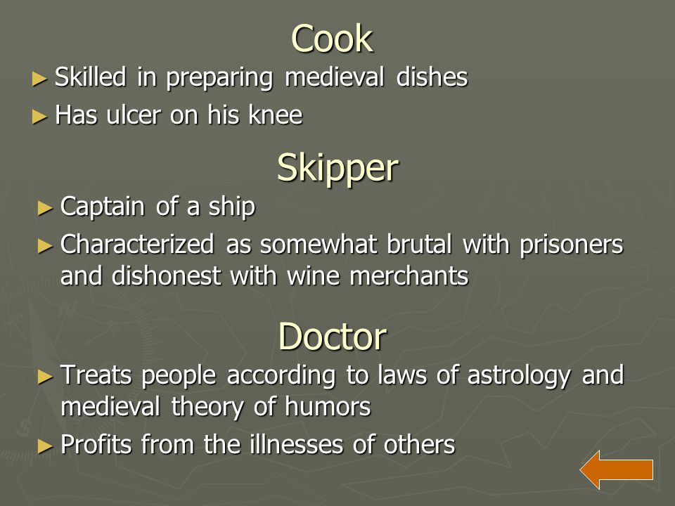 Cook Skipper Doctor Skilled in preparing medieval dishes