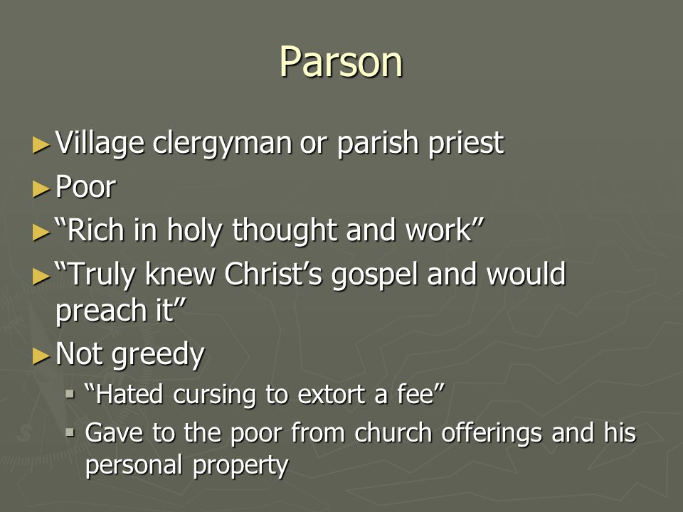 Parson Village clergyman or parish priest Poor