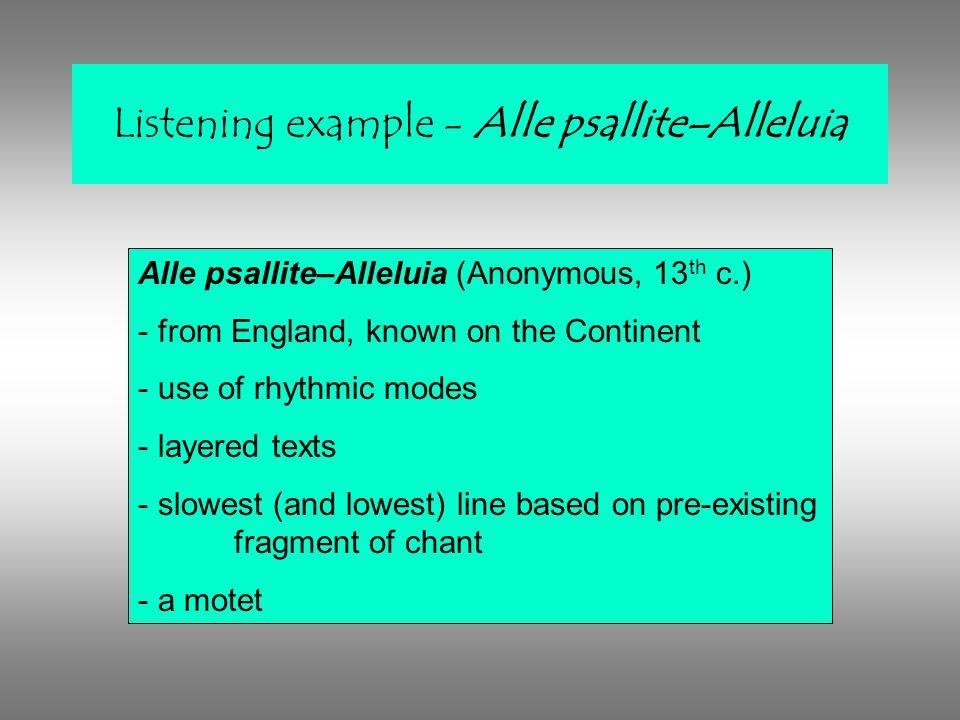 Listening example - Alle psallite–Alleluia