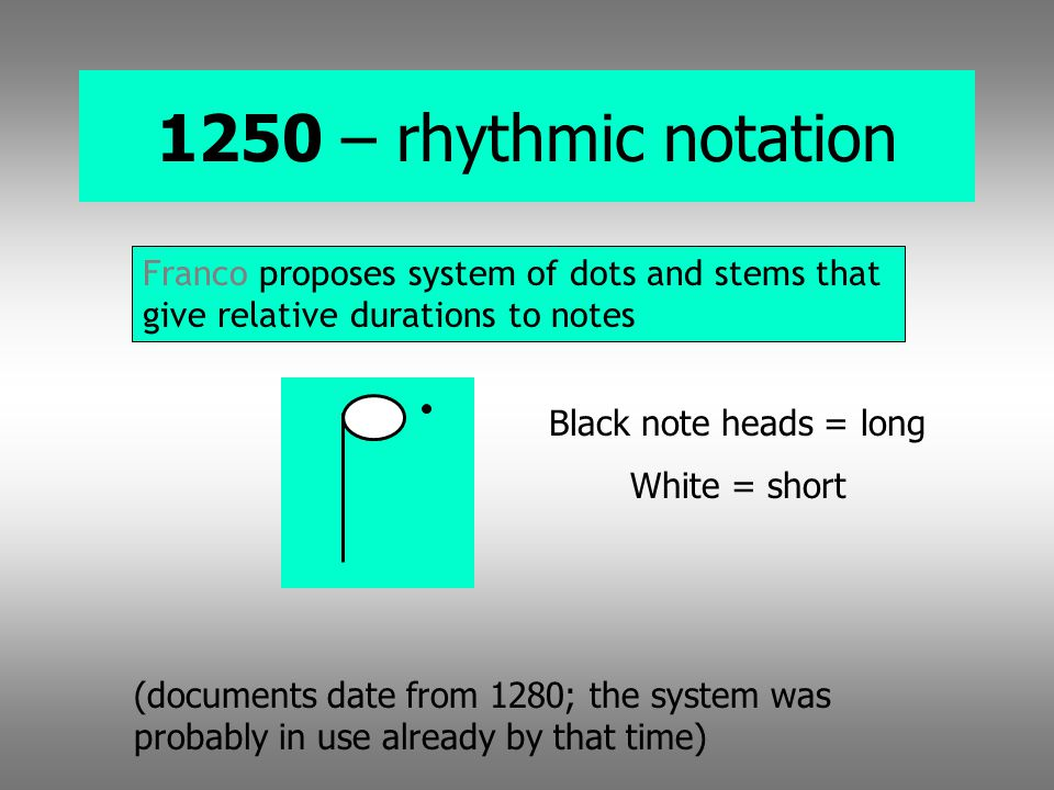 1250 – rhythmic notation Franco proposes system of dots and stems that give relative durations to notes.