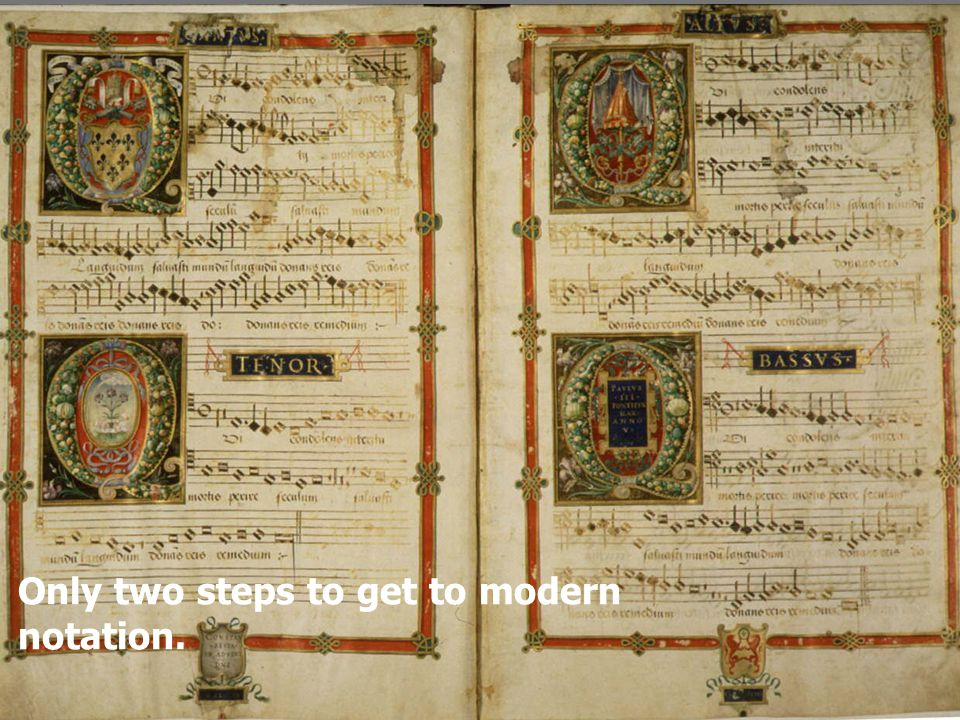 Only two steps to get to modern notation.