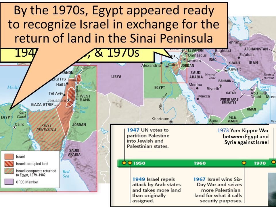By the 1970s, Egypt appeared ready to recognize Israel in exchange for the return of land in the Sinai Peninsula