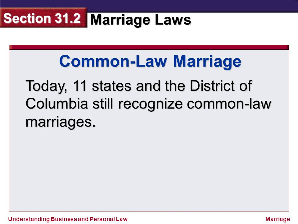 Common-Law Marriage Today, 11 states and the District of Columbia still recognize common-law marriages.