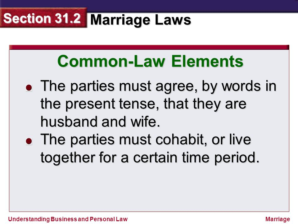 Common-Law Elements The parties must agree, by words in the present tense, that they are husband and wife.