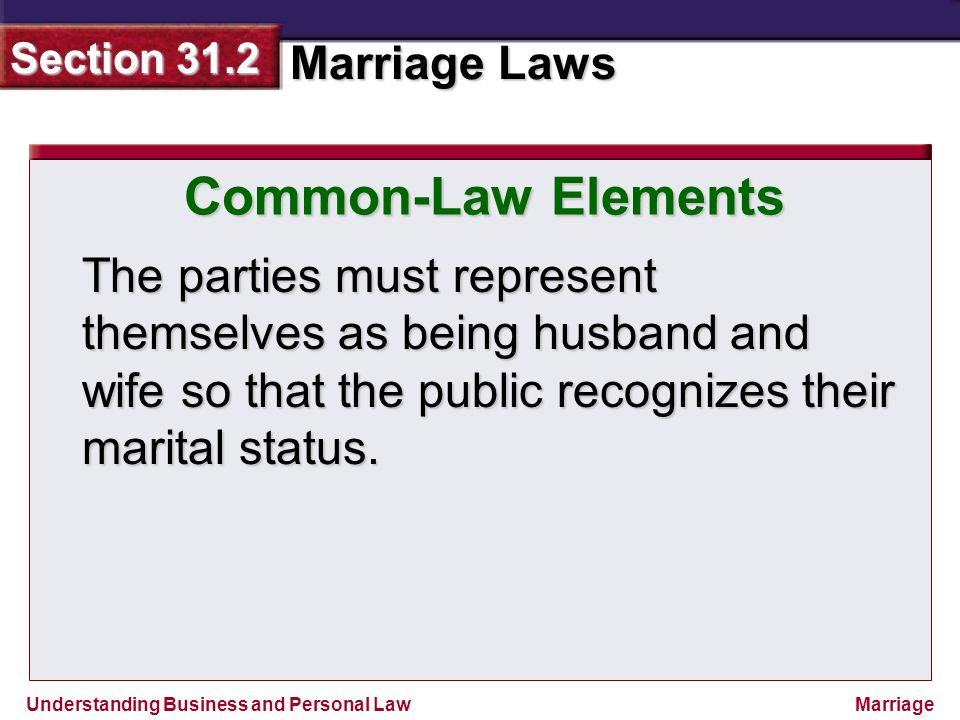 Common-Law Elements The parties must represent themselves as being husband and wife so that the public recognizes their marital status.