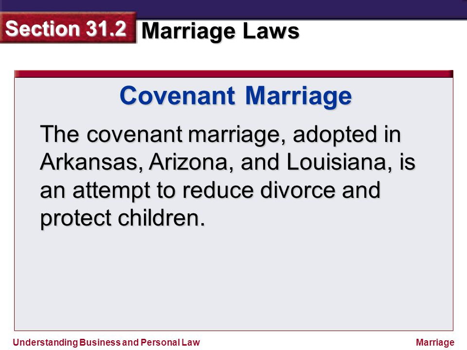 Covenant Marriage The covenant marriage, adopted in Arkansas, Arizona, and Louisiana, is an attempt to reduce divorce and protect children.