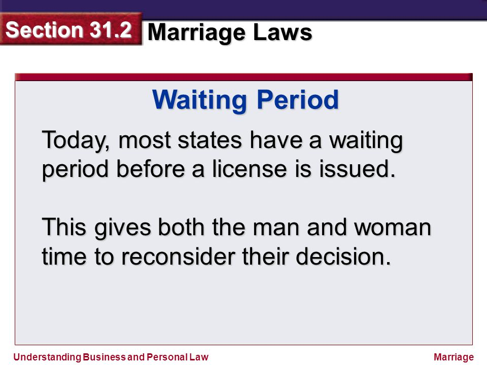 Waiting Period Today, most states have a waiting period before a license is issued.
