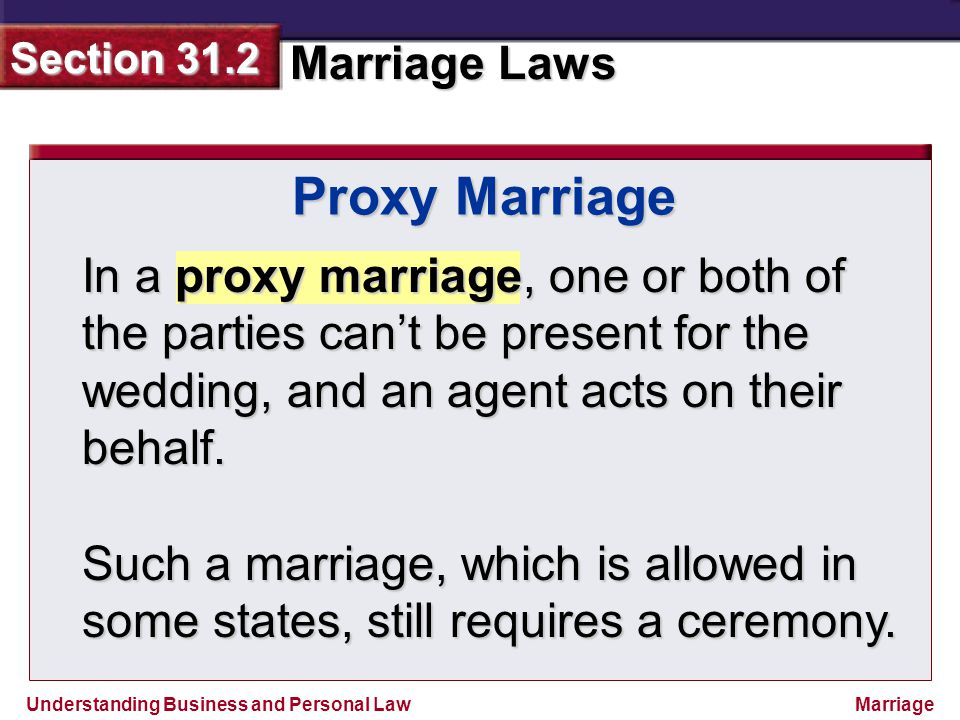 Proxy Marriage In a proxy marriage, one or both of the parties can't be present for the wedding, and an agent acts on their behalf.