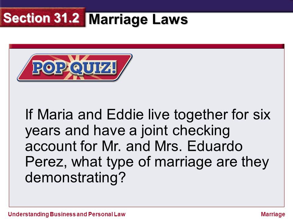 If Maria and Eddie live together for six years and have a joint checking account for Mr.
