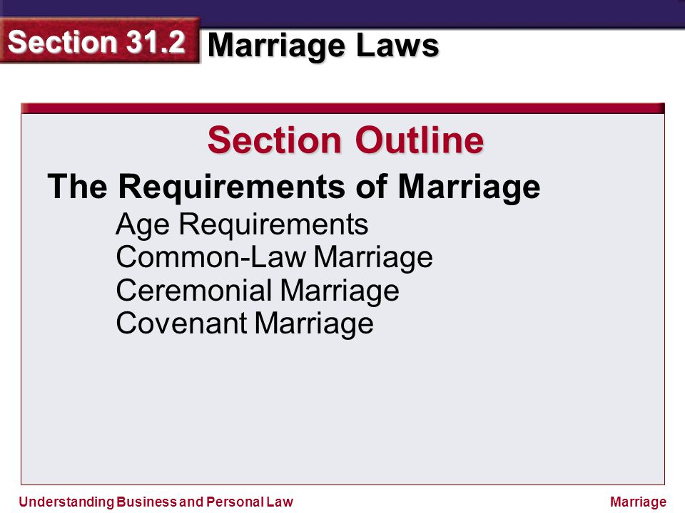 Section Outline The Requirements of Marriage Age Requirements