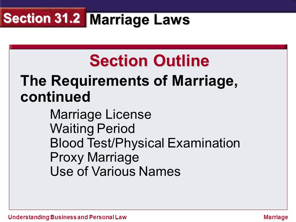 Section Outline The Requirements of Marriage, continued
