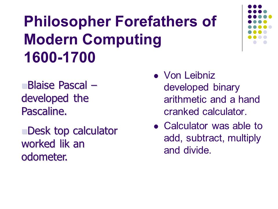 Philosopher Forefathers of Modern Computing 1600-1700