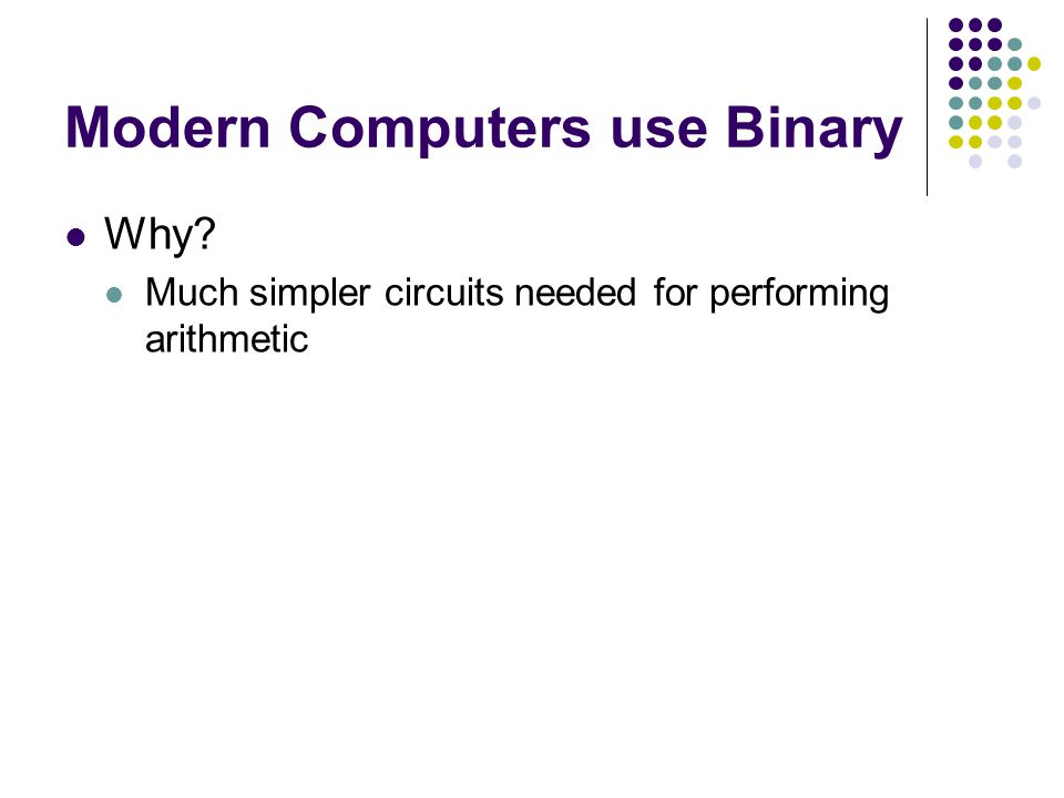 Modern Computers use Binary