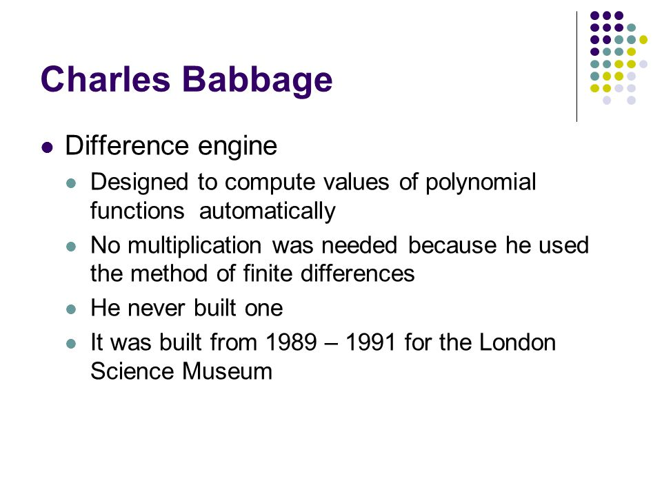 Charles Babbage Difference engine