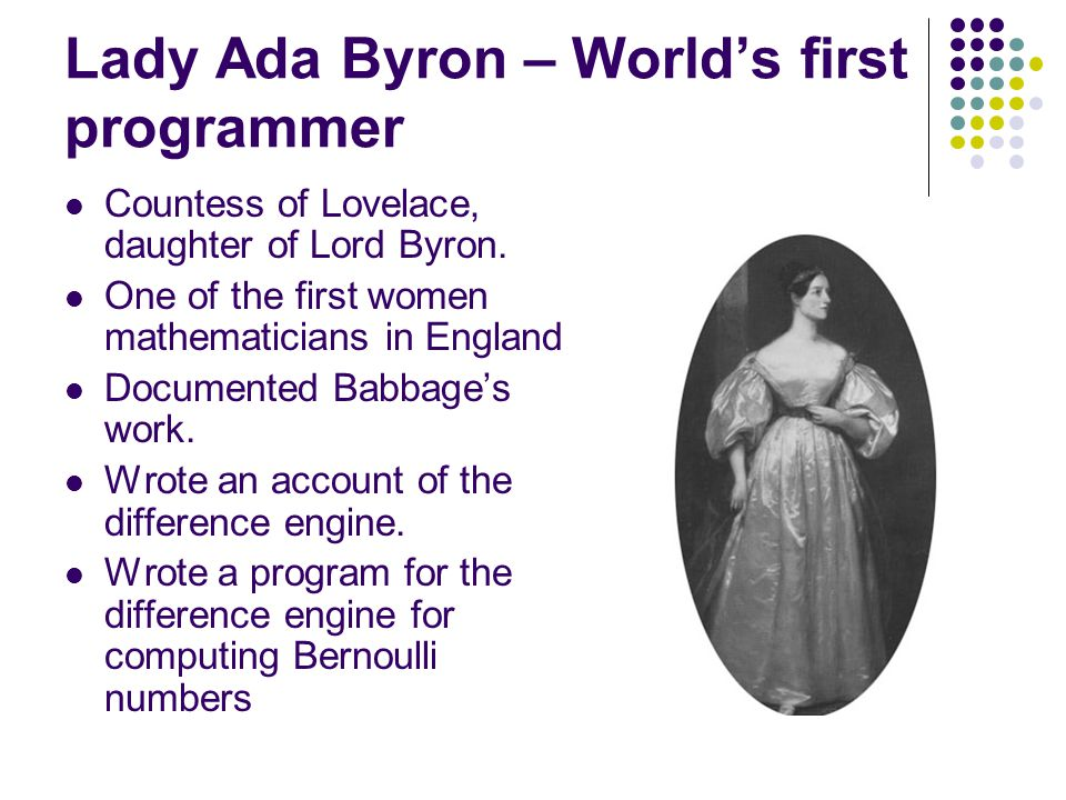 Lady Ada Byron – World's first programmer