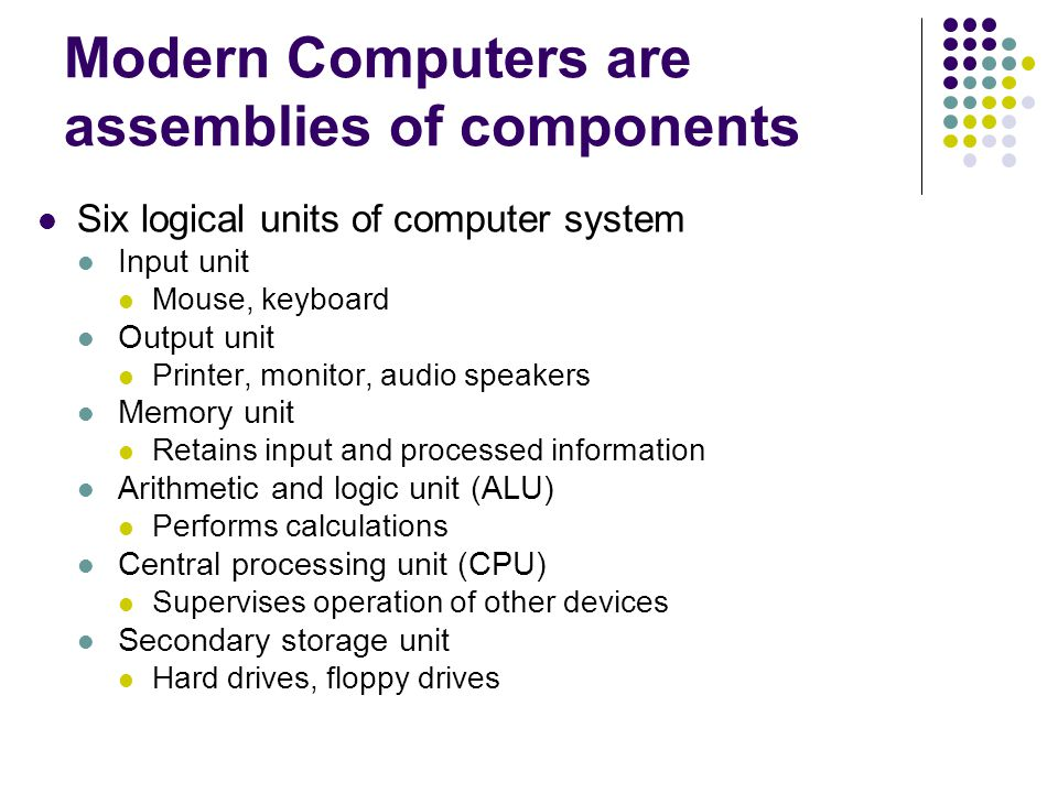 Modern Computers are assemblies of components