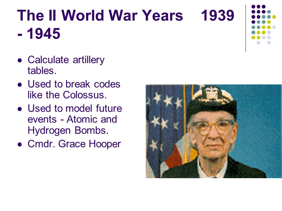 The II World War Years 1939 - 1945 Calculate artillery tables.