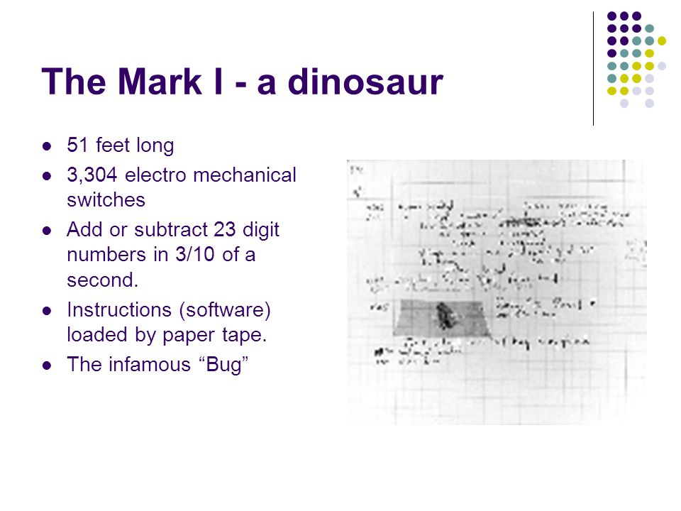 The Mark I - a dinosaur 51 feet long 3,304 electro mechanical switches