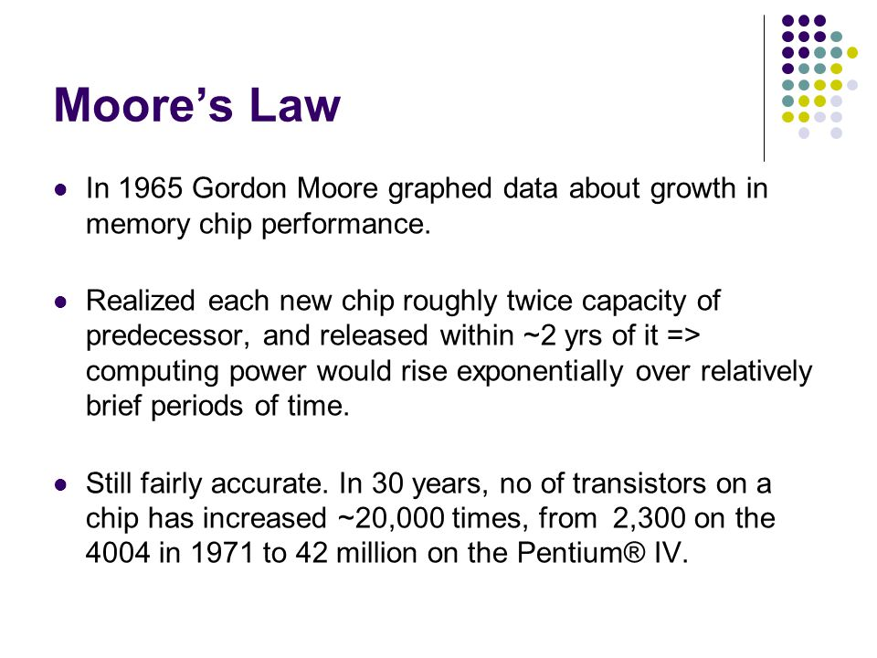Moore's Law In 1965 Gordon Moore graphed data about growth in memory chip performance.