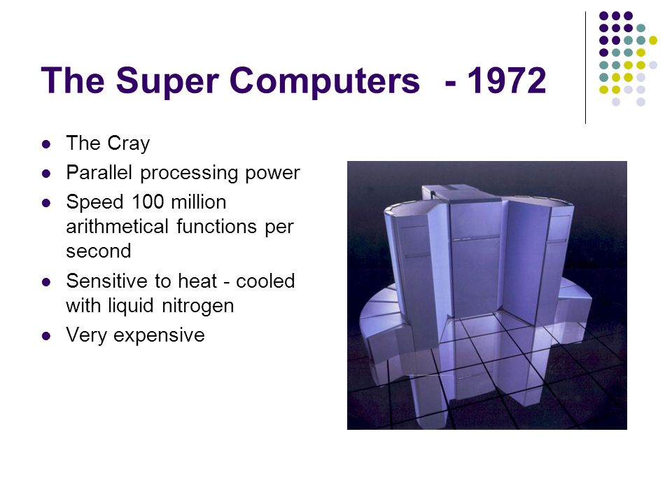 The Super Computers - 1972 The Cray Parallel processing power