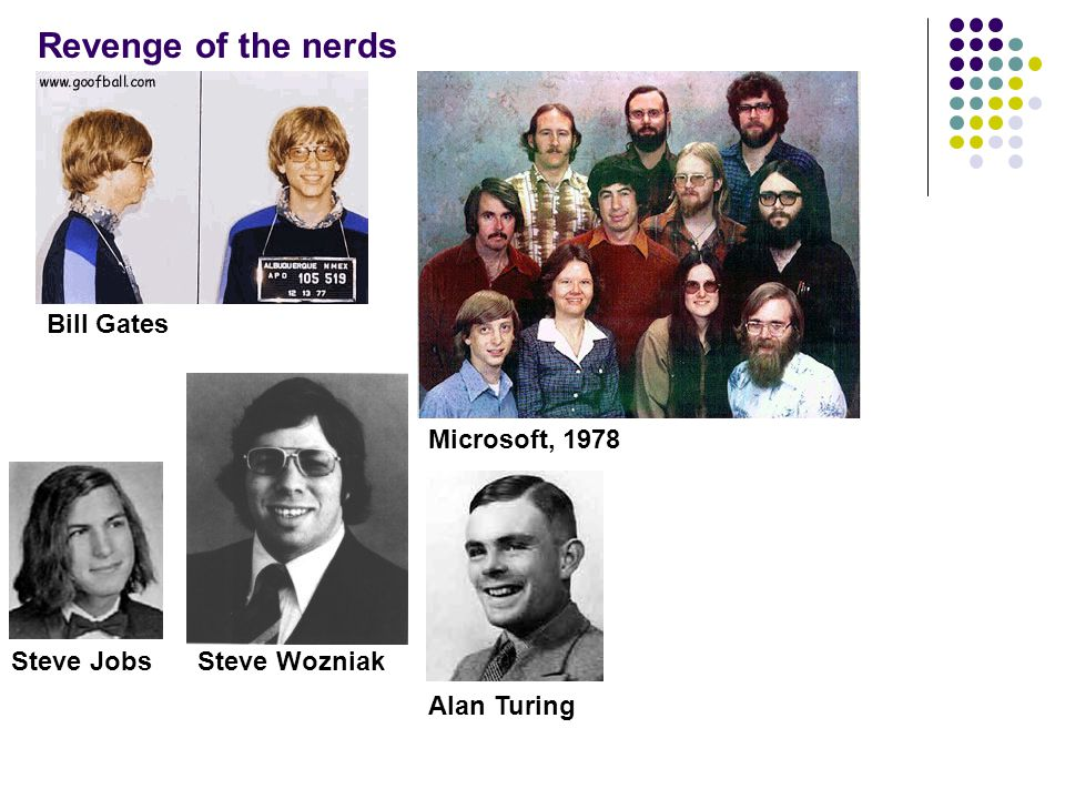 Revenge of the nerds Bill Gates Microsoft, 1978 Steve Jobs