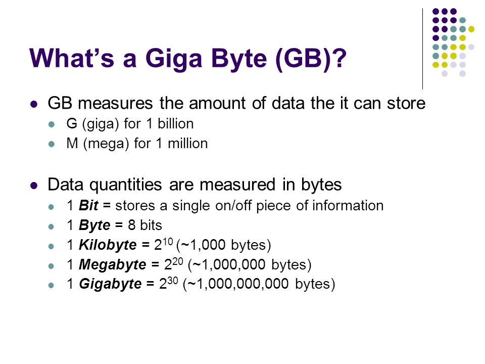 What's a Giga Byte (GB) GB measures the amount of data the it can store. G (giga) for 1 billion. M (mega) for 1 million.