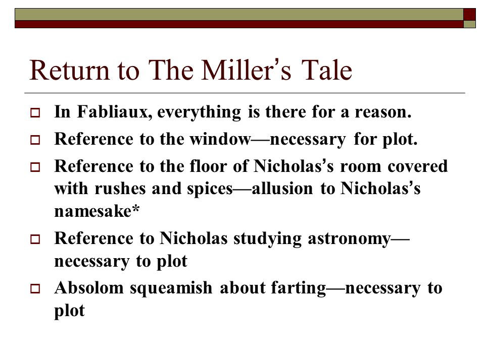 Return to The Miller's Tale