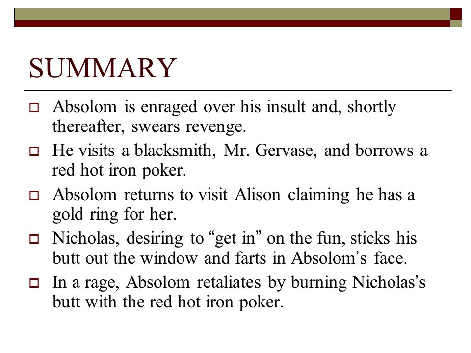 SUMMARY Absolom is enraged over his insult and, shortly thereafter, swears revenge.