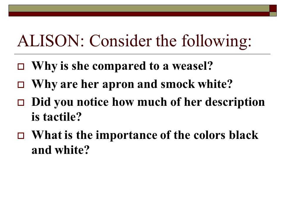 ALISON: Consider the following:
