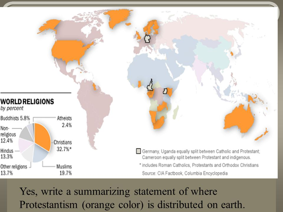 Yes, write a summarizing statement of where Protestantism (orange color) is distributed on earth.