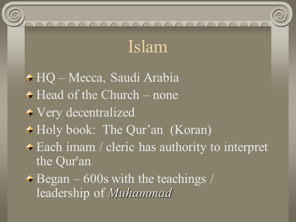 Islam HQ – Mecca, Saudi Arabia Head of the Church – none