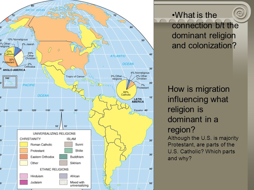 What is the connection b/t the dominant religion and colonization