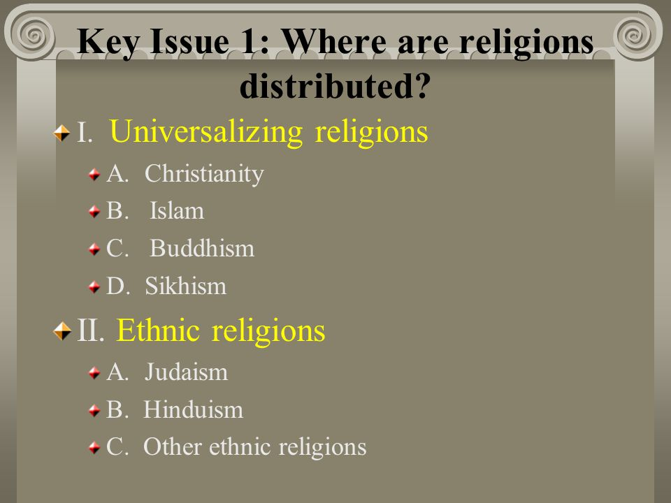 Key Issue 1: Where are religions distributed