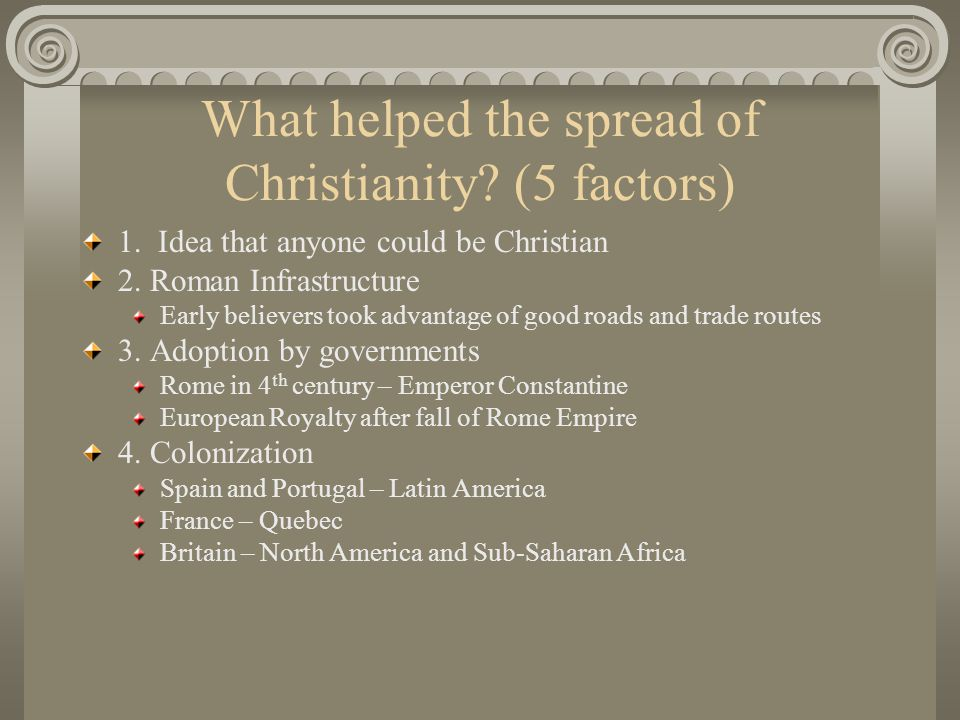 What helped the spread of Christianity (5 factors)