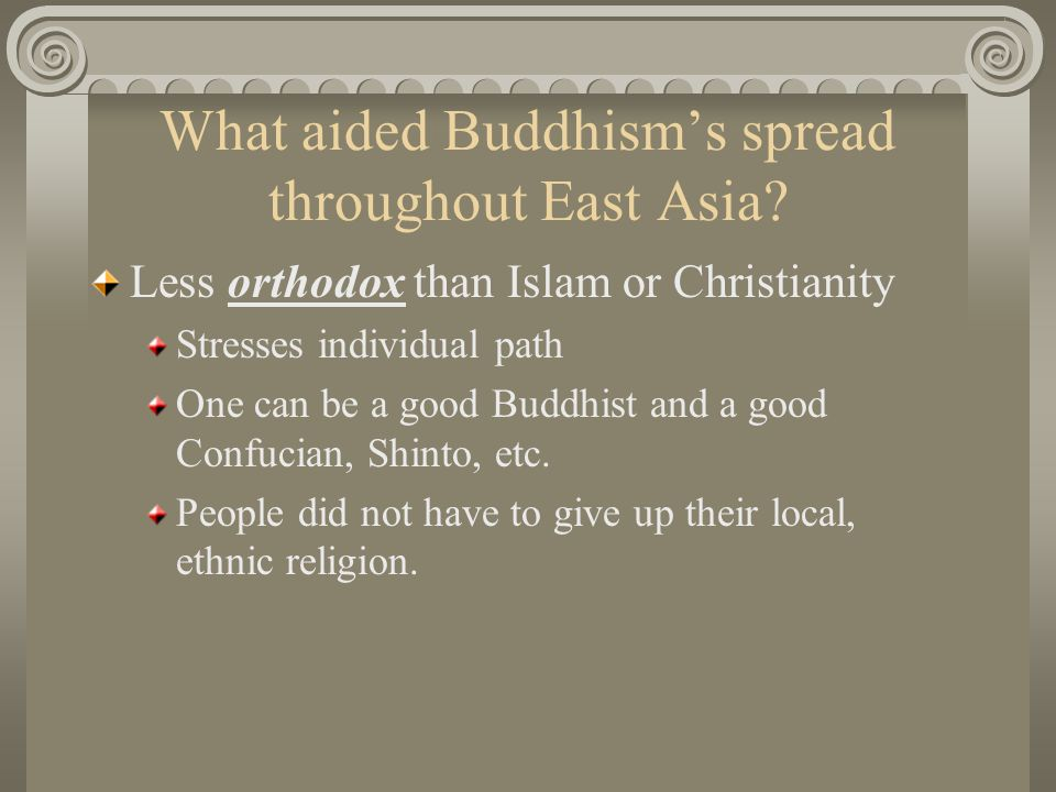 What aided Buddhism's spread throughout East Asia
