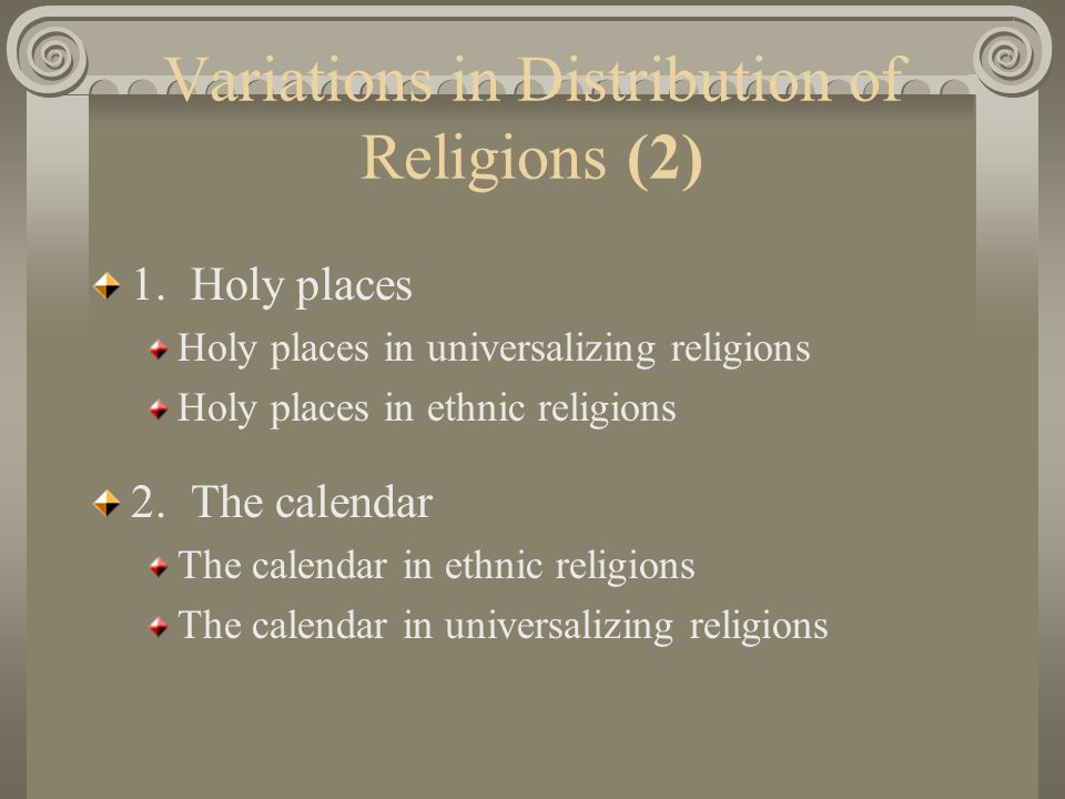 Variations in Distribution of Religions (2)