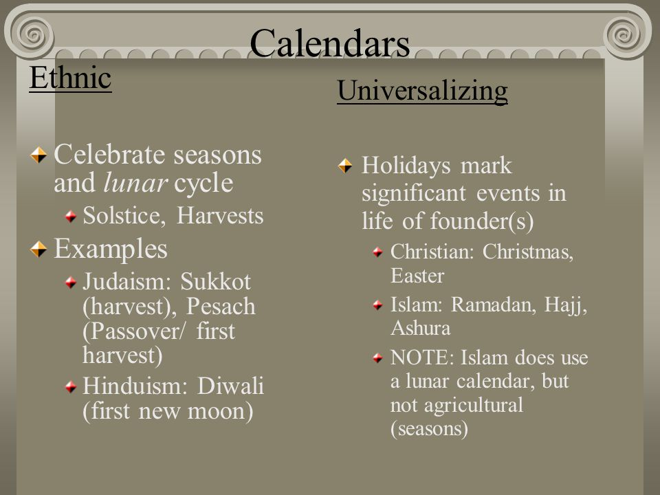 Calendars Ethnic Universalizing Celebrate seasons and lunar cycle
