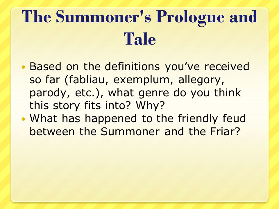 The Summoner s Prologue and Tale