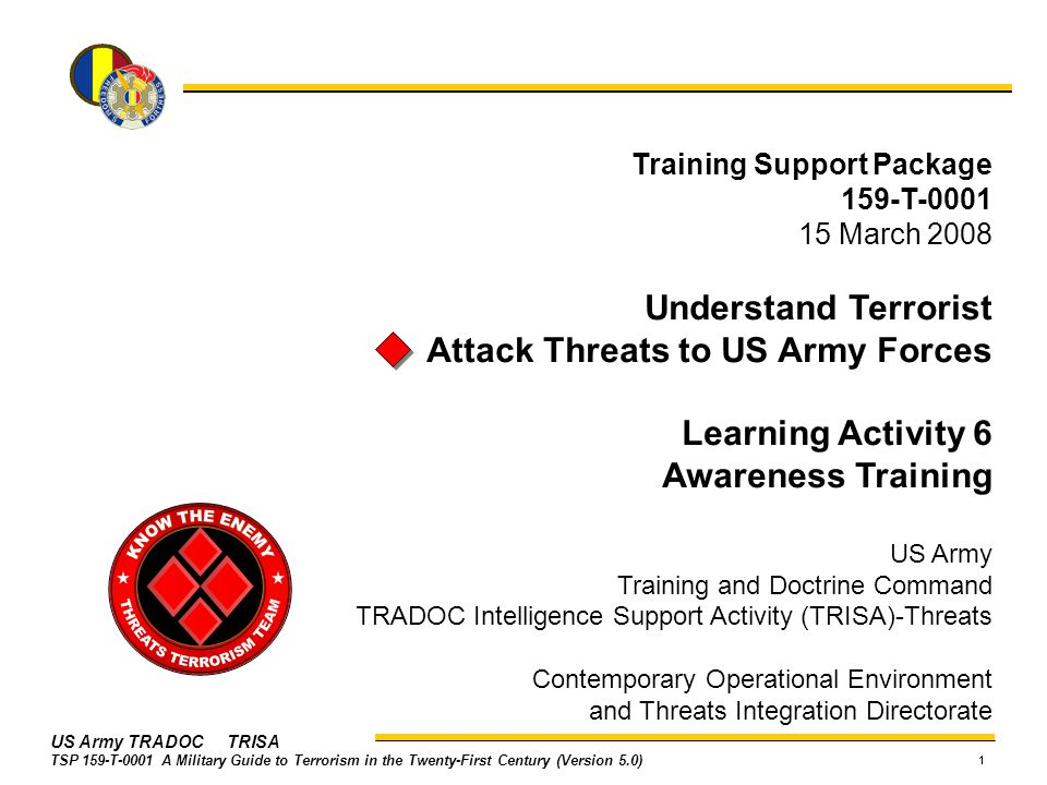 Attack Threats to US Army Forces Learning Activity 6