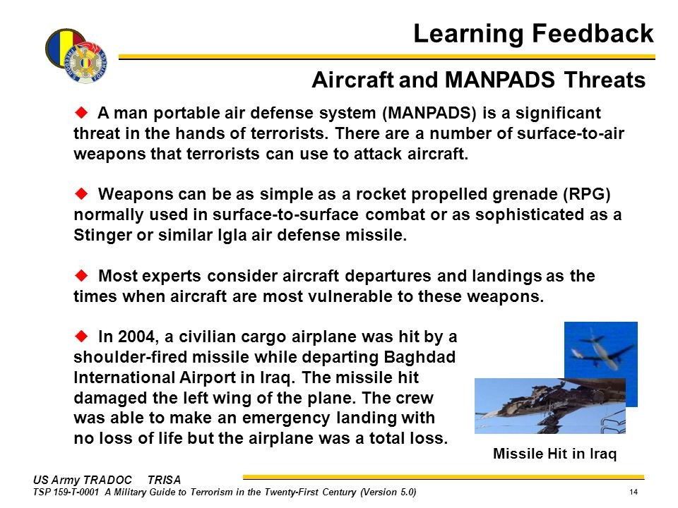 Learning Feedback Aircraft and MANPADS Threats