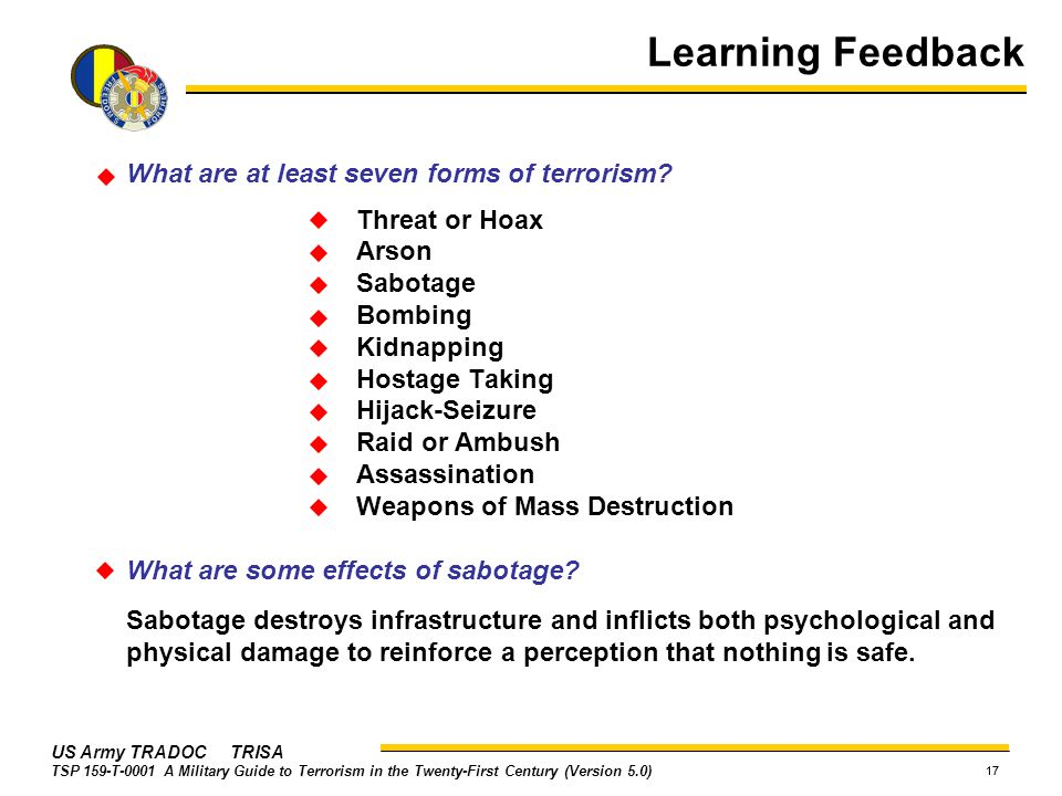 What are at least seven forms of terrorism