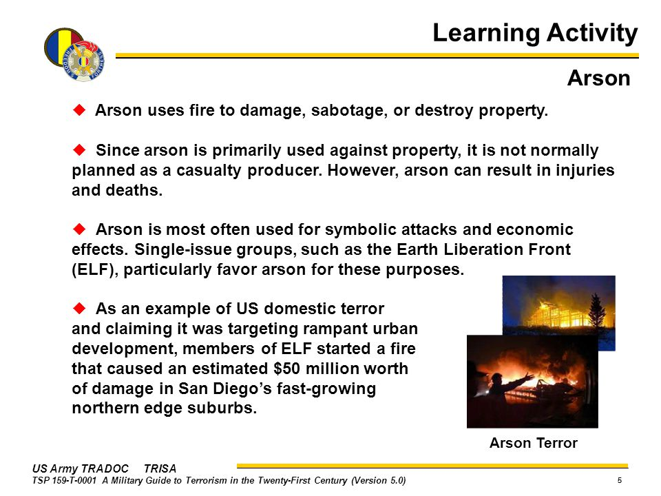 Learning Activity Arson