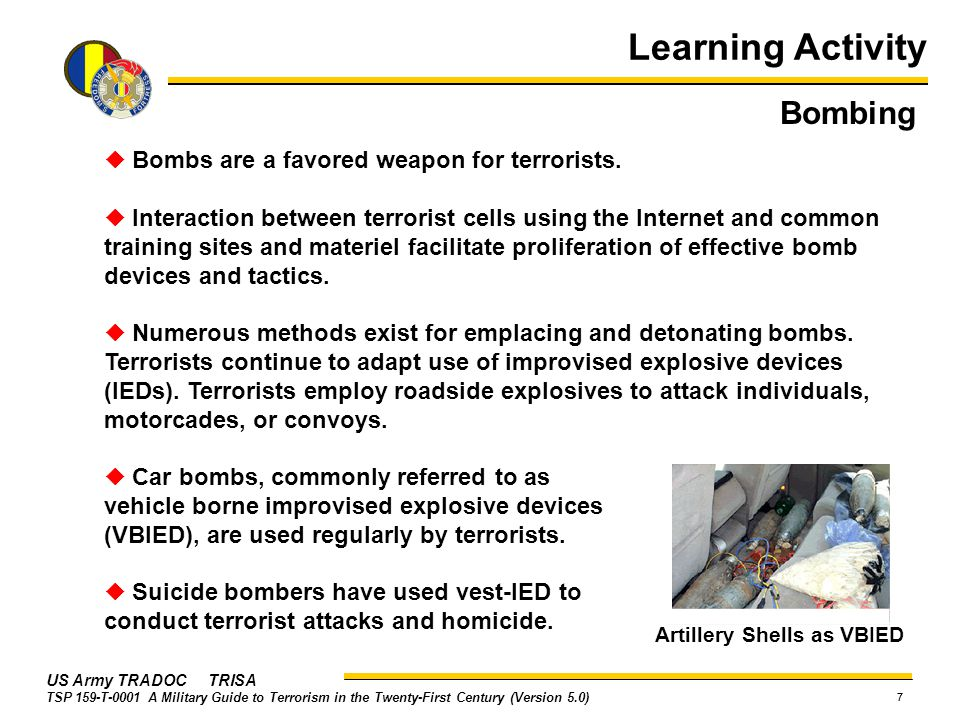 Learning Activity Bombing  Bombs are a favored weapon for terrorists.