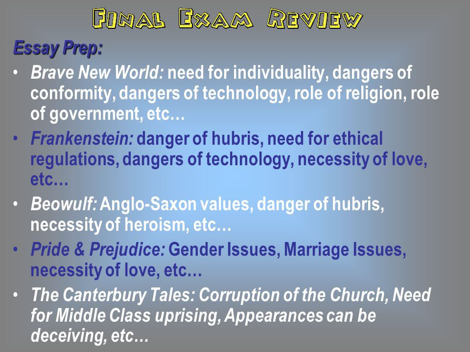 Essay Prep: Brave New World: need for individuality, dangers of conformity, dangers of technology, role of religion, role of government, etc…