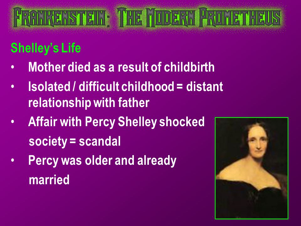Shelley's Life Mother died as a result of childbirth. Isolated / difficult childhood = distant relationship with father.