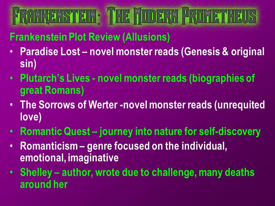 Frankenstein Plot Review (Allusions)