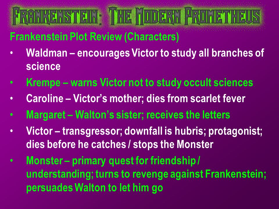 Frankenstein Plot Review (Characters)