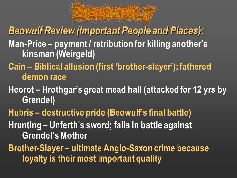 Beowulf Review (Important People and Places):