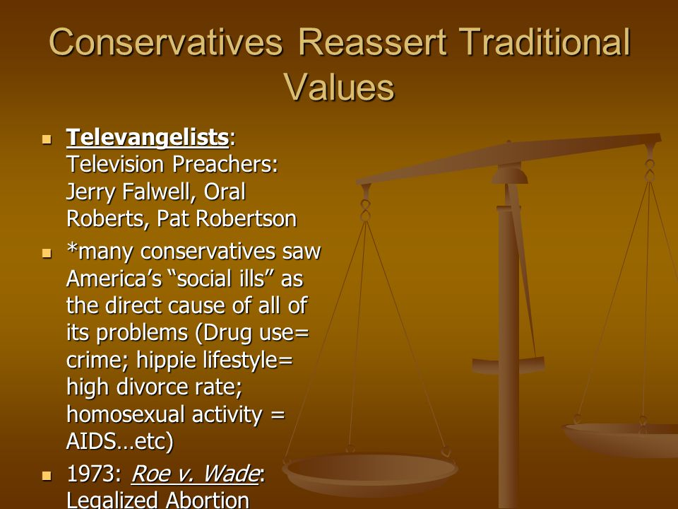 Conservatives Reassert Traditional Values