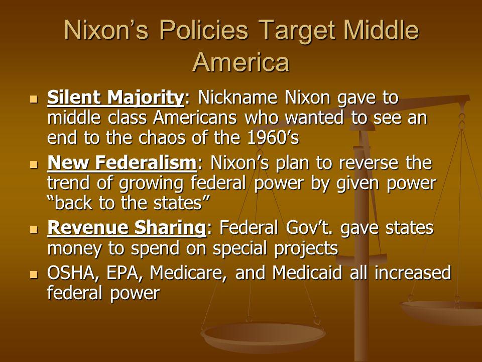 Nixon's Policies Target Middle America
